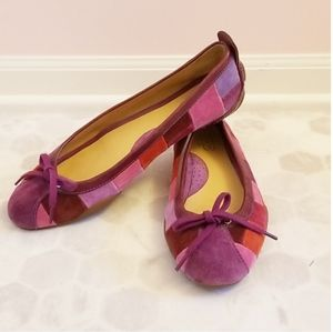 COACH purple patchwork ballet flats